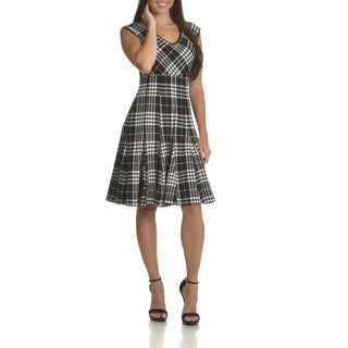Taylor Women's Black/Ivory Polyester/Spandex Textured Plaid Fit-and-flare Dress