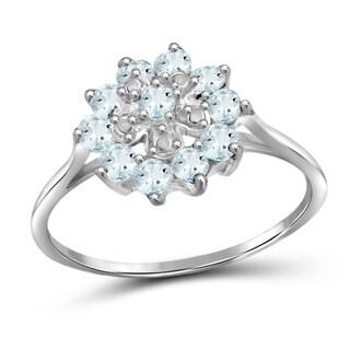 Jewelonfire Sterling Silver 0.96 CTW Aquamarine Gemstone Flower Ring