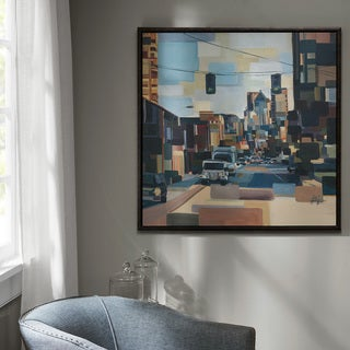 Madison Park Urban Street At High Noon Multi Gel Coat Printed On Canvas With Nature Wood Frame