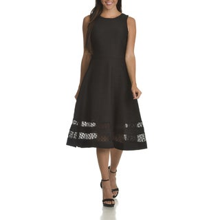 Taylor Women's Black Polyester/Spandex/Cotton/Nylon Textured Fit-and-flare Dress with Lace Hem
