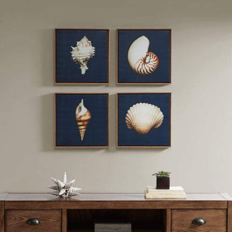 Madison Park Ocean Seashells Blue Framed Canvas