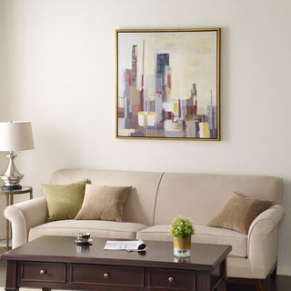 Madison Park Signature Skyscraper Horizon Multi Hand Embellished with Bronze Frame