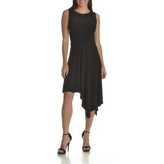 Taylor Women's Black Polyester/Spandex Wrap Waist High Low Hem A-line Dress