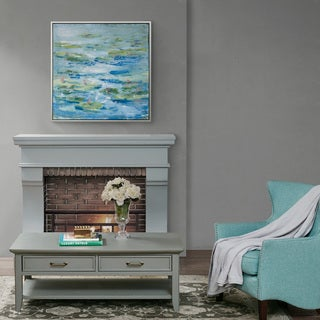Madison Park Signature Lilies In A Blue Pond Hand Embellished with Silver Frame