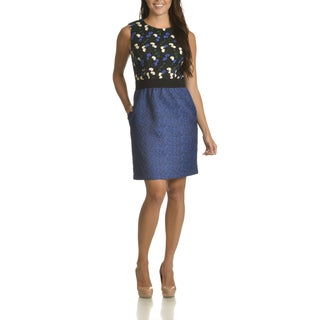 Taylor Women's Floral Embroidered Bodice Sheath Dress