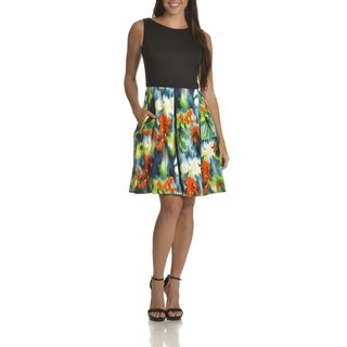 Just Taylor Women's Abstract Floral-print Fit and Flare Dress