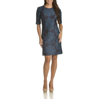 Taylor Women's Navy Geo Floral Print Polyester/Spandex Shift Dress