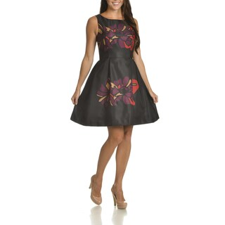 Taylor Women's Purple Polyester Floral Print Fit and Flare Dress