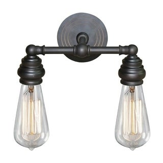 Y-Decor 'Tiffany' 2-light Metal Vanity Fixture with Exposed Bulb Style - Bronze