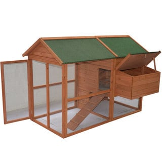 Pawhut 71-inch Backyard Wooden Hen House Chicken Coop