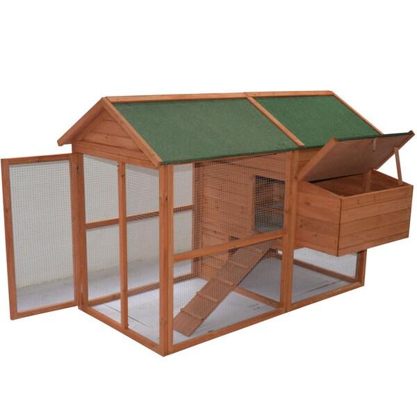 Pawhut 71-inch Backyard Wooden Hen House Chicken Coop