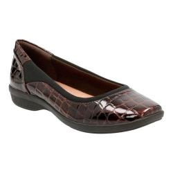 Women's Clarks Haydn Pearl Flat Brown Crocodile Faux Patent