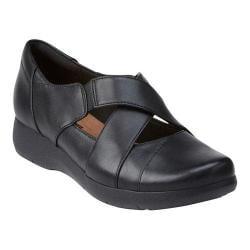 Women's Clarks Idella Honor Cross-Strap Shoe Black Sheep Full Grain Leather