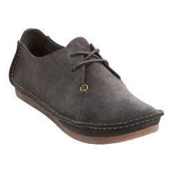 Women's Clarks Janey Mae Lace Up Shoe Dark Grey Suede