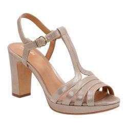 Women's Clarks Jenness Night Ankle Strap Sandal Champagne Metallic Goat Full Grain Leather