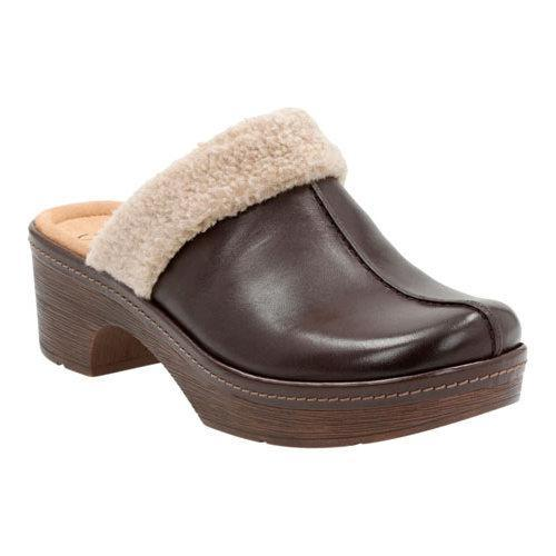 Women's Clarks Preslet Grove Clog Dark Brown Cow Full Grain Leather