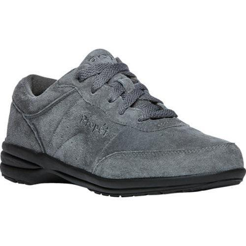 Women's Propet Washable Walker Suede Walking Shoe Pewter Suede
