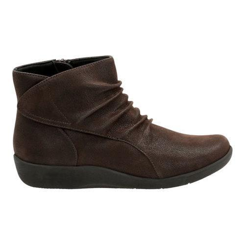 Women's Clarks Sillian Chell Bootie Brown Synthetic Nubuck