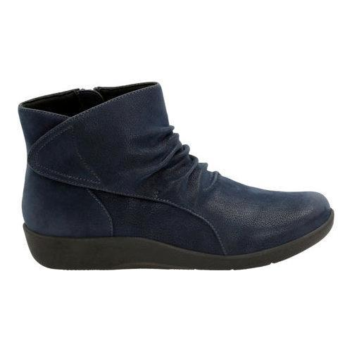 Women's Clarks Sillian Chell Bootie Navy Synthetic Nubuck