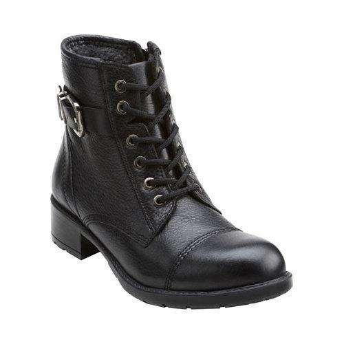 Women's Clarks Swansea Ledge Logger Boot Black Cow Full Grain Leather
