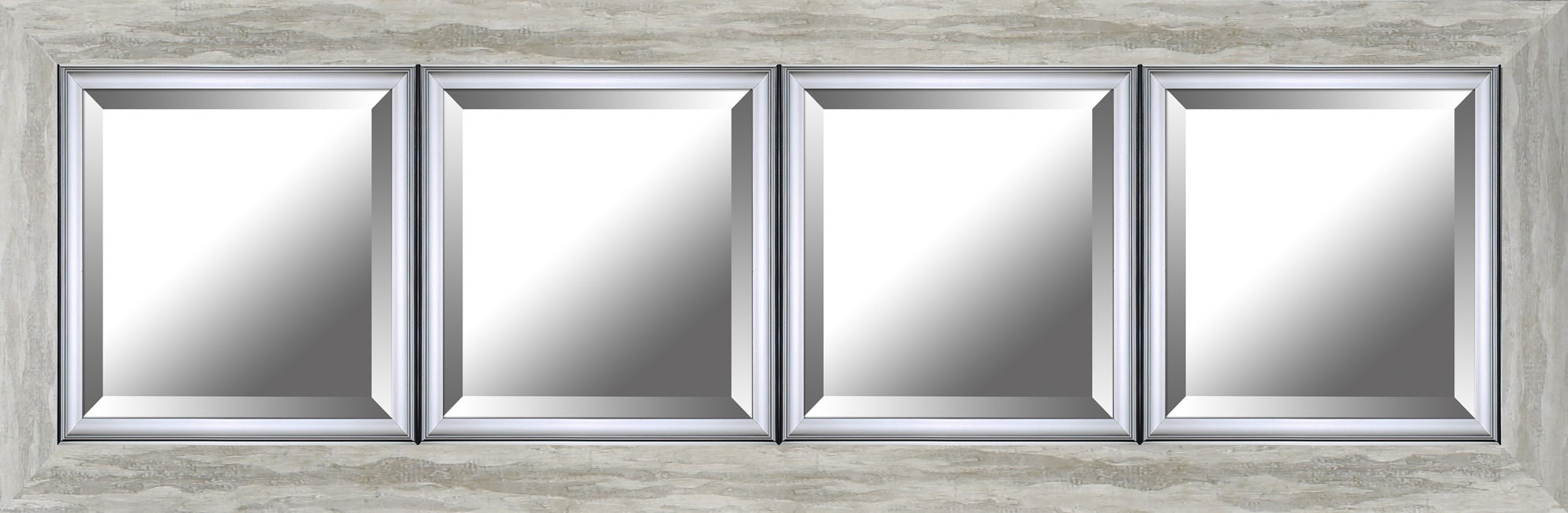 Hobbitholeco. 34x46 Black Hand Stained Beveled Mirror (Inner mirror 24X36)