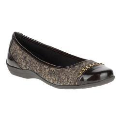 Women's Soft Style Helga Flat Dark Brown Tweed/Pearlized Patent