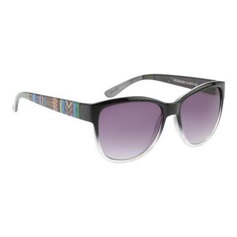 Women's Unionbay U272 Tribal Print Cat Eye Sunglasses Black Print/Smoke Gradient