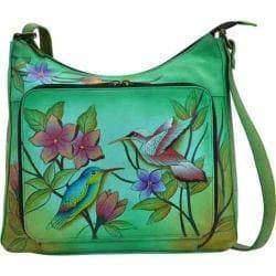 Women's ANNA by Anuschka Hand Painted Large Organizer Handbag 8178 Birds In Paradise Green