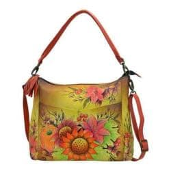 Women's ANNA by Anuschka Hand Painted Leather Convertible Shoulder Bag 8188 Fall Bouquet