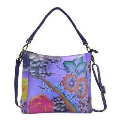 Women's ANNA by Anuschka Hand Painted Leather Convertible Shoulder Bag 8188 Floral Safari Purple