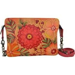 Women's ANNA by Anuschka Hand Painted Leather Small Crossbody 8213 Summer Bloom