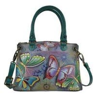 Women's ANNA by Anuschka Hand Painted Leather Small Satchel 8252 Butterfly Paradise