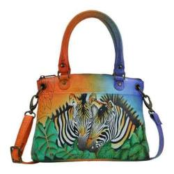 Women's ANNA by Anuschka Hand Painted Leather Small Satchel 8252 Zebra Safari