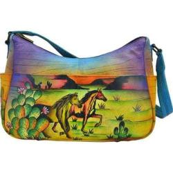 Women's ANNA by Anuschka Hand Painted Leather Twin Top East West Hobo 8193 Arizona Mustang