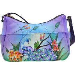 Women's ANNA by Anuschka Hand Painted Leather Twin Top East West Hobo 8193 Midnight Peacock|https://ak1.ostkcdn.com/images/products/125/343/P19091802.jpg?impolicy=medium