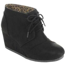 Women's Beston Rex-S Ankle Bootie Black Faux Suede
