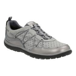 Women's Clarks Aria Flyer Bungee Lace Sneaker Pewter Sheep Nubuck