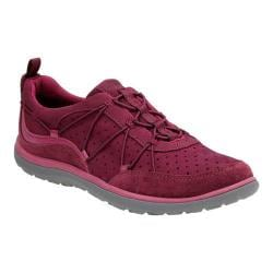 Women's Clarks Aria Flyer Bungee Lace Sneaker Plum Cow Full Grain Leather