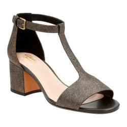 Women's Clarks Barley Belle T Strap Sandal Bronze Metallic Leather