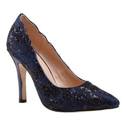 Women's Pink Paradox London Alexis Pointed Toe Pump Navy Glitter Lace