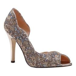 Women's Pink Paradox London Eve D'Orsay Peep Toe Pump Champagne Glitter Lace