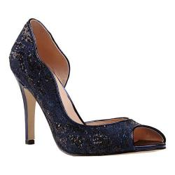 Women's Pink Paradox London Eve D'Orsay Peep Toe Pump Navy Glitter Lace