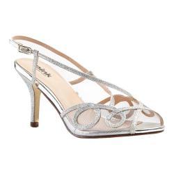 Women's Pink Paradox London Imogen Slingback Sandal Silver Glitter Mesh