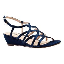 Women's Pink Paradox London Opulent Wedge Sandal Navy Satin
