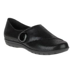 Women's Soft Style Veda Monk Strap Shoe Black Lizard