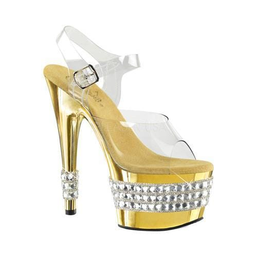 Shop Women s Pleaser Adore 708RS-3 Sandal Clear PVC Gold Chrome - Free  Shipping Today - Overstock.com - 12273590 6a970a3d57a0