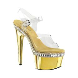 Women's Pleaser Adore 708RS-1 Ankle-Strap Sandal Clear PVC/Gold Chrome
