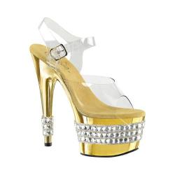 Women's Pleaser Adore 708RS-3 Sandal Clear PVC/Gold Chrome