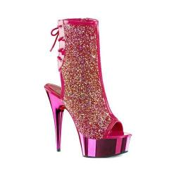 Women's Pleaser Delight 1018MS Ankle Boot Hot Pink Patent/Rhinestones/Hot Pink Chrome