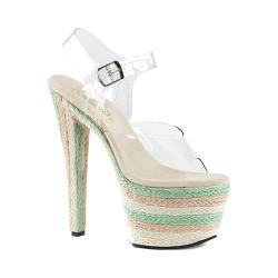 Women's Pleaser Sky 308ESP Ankle-Strap Sandal Clear PVC/Multi